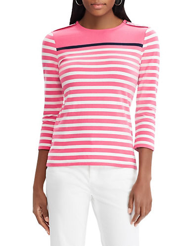 Chaps Striped Jersey Crew Neck Top-PINK-X-Small 90066194_PINK_X-Small