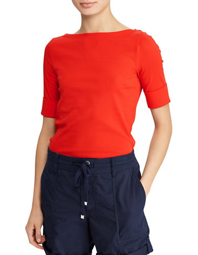Lauren Ralph Lauren Petite Cotton Boatneck T-Shirt-TOMATO RED-Petite Large