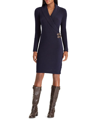 Chaps Buckled Wrap Dress-BLUE-Large