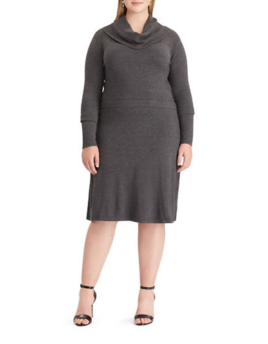 Chaps Cowlneck Sweater Dress-GREY-3X