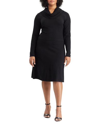 Chaps Cowl neck Sweater Dress-BLACK-1X