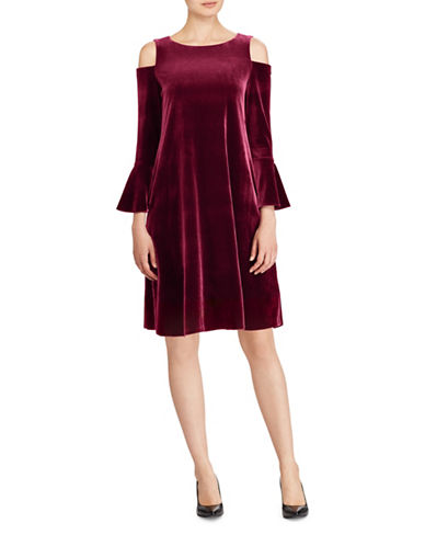 Lauren Ralph Lauren Velvet Cold Shoulder Dress-RED-10
