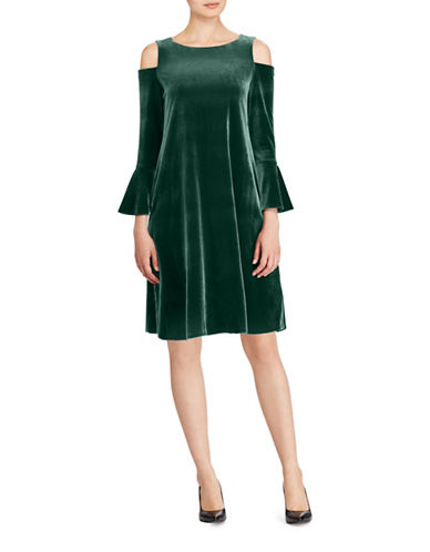 Lauren Ralph Lauren Velvet Cold Shoulder Dress-GREEN-2