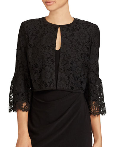 Lauren Ralph Lauren Lace Bell-Sleeve Cardigan-BLACK-Small