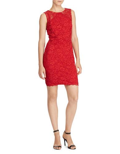 Lauren Ralph Lauren Sleeveless Lace Sheath Dress-RED-14