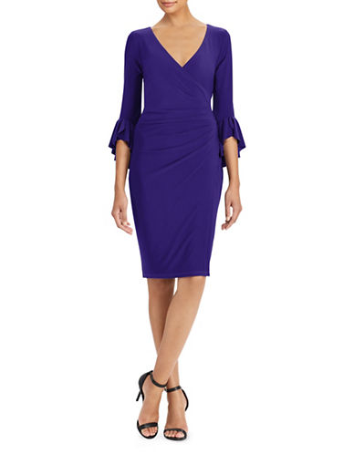 Lauren Ralph Lauren Surplice Jersey Dress-BLUE-4