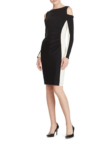 Lauren Ralph Lauren Colourblocked Cutout Dress-BLACK/WHITE-14