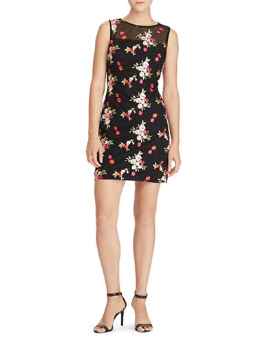 Lauren Ralph Lauren Floral Sleeveless Sheath Dress-BLACK-10