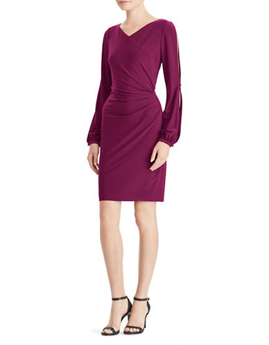 Lauren Ralph Lauren Surplice Long-Sleeve Sheath Dress-WINE-8