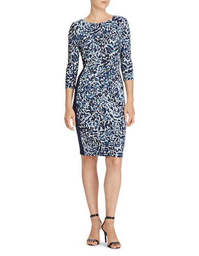Lauren Ralph Lauren Printed Jersey Dress-NAVY-16