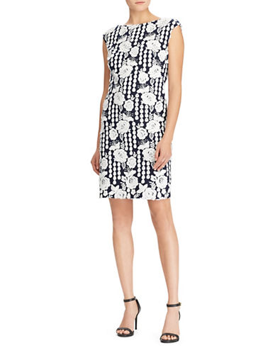 Lauren Ralph Lauren Floral Geometric-Lace Dress-NAVY/WHITE-2