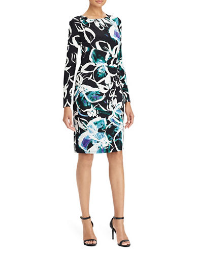 Lauren Ralph Lauren Floral Jersey Dress-BLACK/TEAL-14