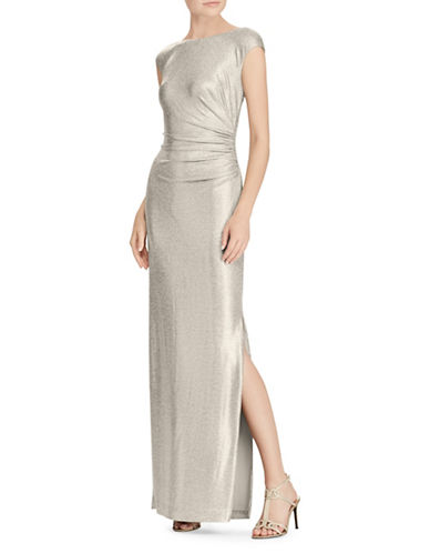 Lauren Ralph Lauren Metallic Cutout-Back Floor-Length Gown-GOLD-14