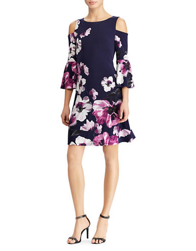 Lauren Ralph Lauren Floral Cold-Shoulder Cocktail Dress-BLACK-12