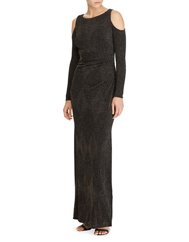Lauren Ralph Lauren Metallic Jacquard Gown-BLACK/GOLD-0