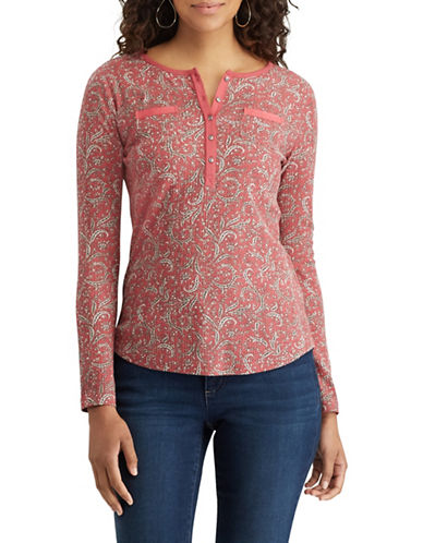 Chaps Paisley Cotton Henley-PINK-X-Small