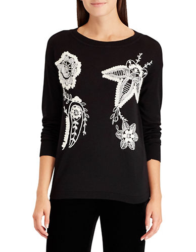 Chaps Embroidered Floral Sweater-BLACK-Medium