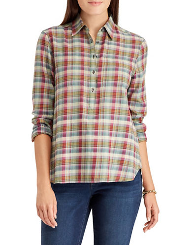 Chaps Plaid Cotton Button-Down Shirt-GREEN-Small