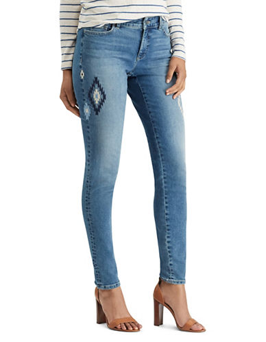 Chaps Embroidered Stretch Mid-Rise Skinny Jeans-BLUE-14