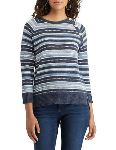 Chaps Striped Cotton Sweater-BLUE-X-Large