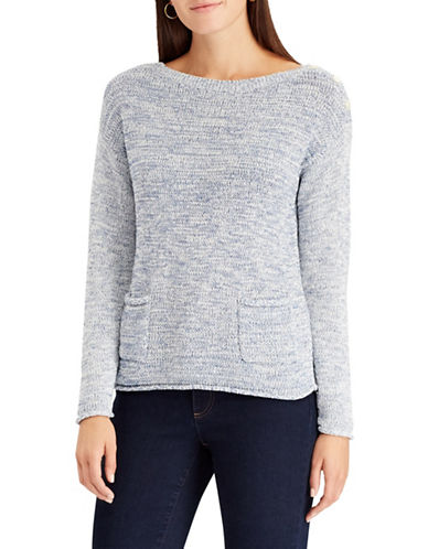 Chaps Marled Boat Neck Sweater-BLUE-Medium