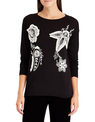 Chaps Petite Floral Sweater-BLACK-Petite X-Small