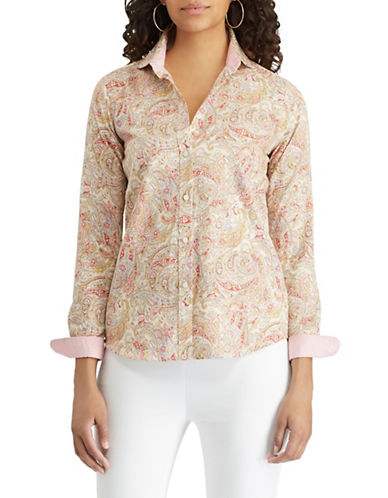 Chaps Petite Paisley-Print Cotton Button-Down Shirt-BEIGE-Petite X-Small