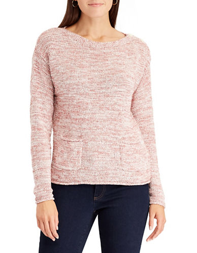 Chaps Petite Marled Boat Neck Sweater-PINK-Petite X-Small