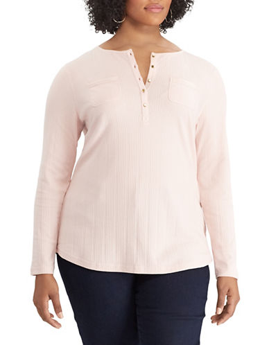 Chaps Plus Textured Cotton Henley-PINK-2X