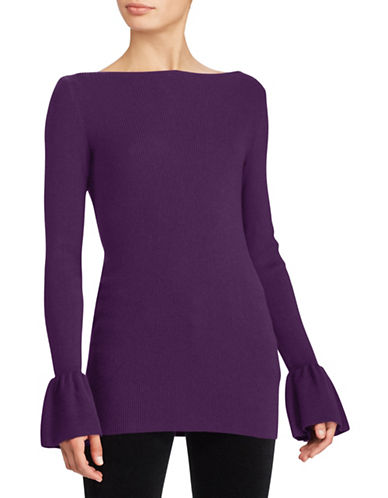 Lauren Ralph Lauren Ruffled Stretch Sweater-PURPLE-Small