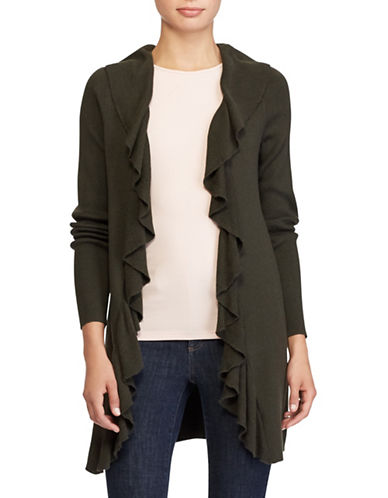 Lauren Ralph Lauren Ruffled Open-Front Cardigan-GREEN-Medium