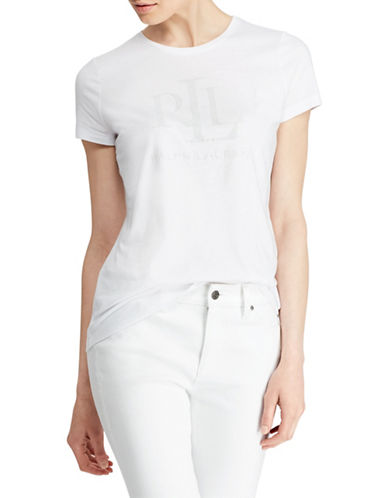 Lauren Ralph Lauren Graphic Logo Tee-WHITE-Small