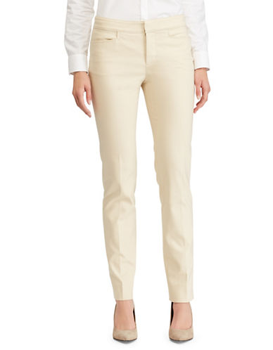 Chaps Stretch Cotton Skinny Pants-BEIGE-16