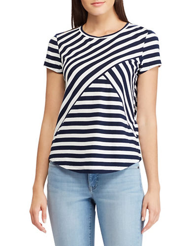 Chaps Striped Jersey Top-NAVY-X-Small