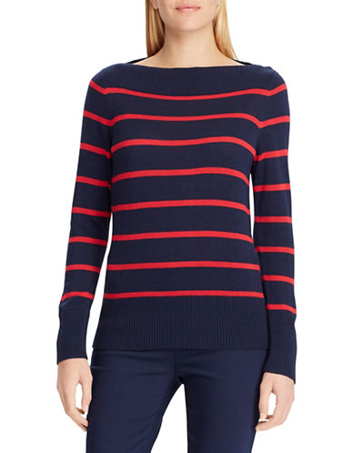 Chaps Striped Boat Neck Sweater-NAVY-Medium