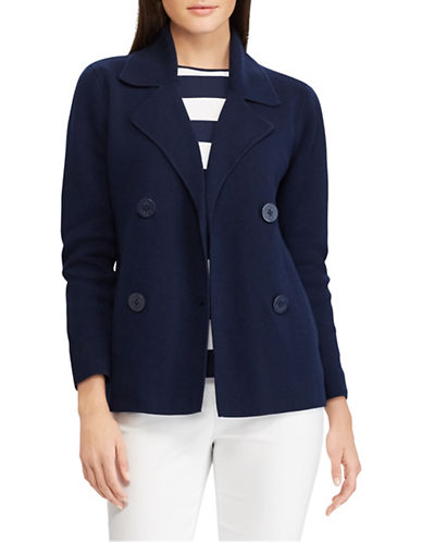 Chaps Petite Double-Breasted Sweater Blazer-NAVY-Petite X-Small