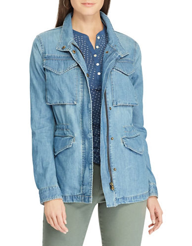 Chaps Petite Denim Field Jacket-BLUE-Petite X-Small