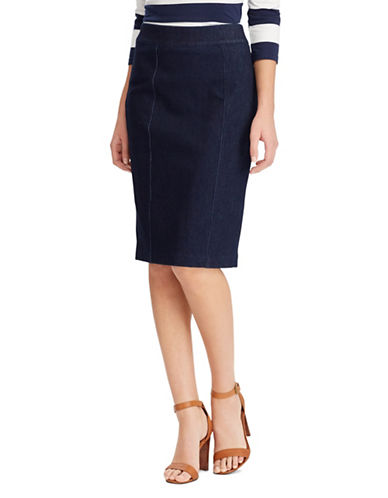 Chaps Petite Knit Denim Pencil Skirt-BLUE-Petite X-Large