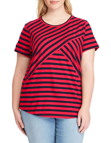 Chaps Plus Striped Jersey Top-RED-1X