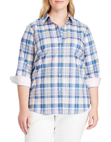 Chaps Plus No-Iron Plaid Cotton Shirt-BLUE-2X
