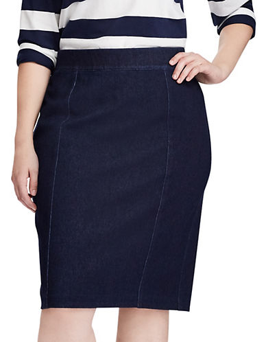 Chaps Plus Cotton-Blend Straight Skirt-NAVY-1X