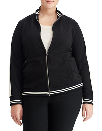 Lauren Ralph Lauren Plus French Terry Jacket-BLACK-3X