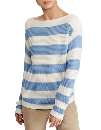 Lauren Ralph Lauren Striped Cotton Boat Neck Sweater-LIGHT BLUE-X-Small