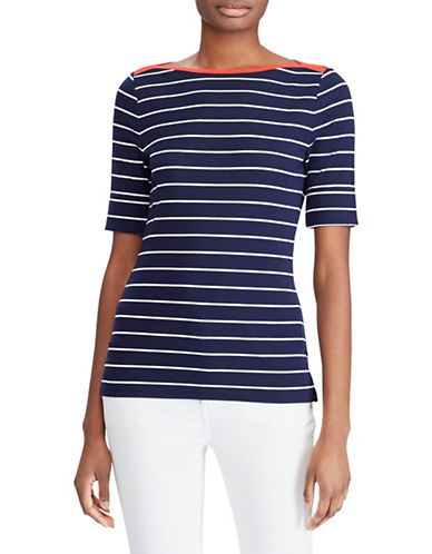 Lauren Ralph Lauren Striped Cotton Boatneck Top-NAVY-Small