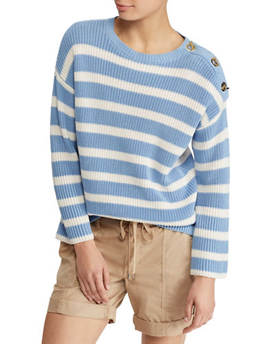 Lauren Ralph Lauren Striped Toggle Cotton Sweater-LIGHT BLUE-X-Small