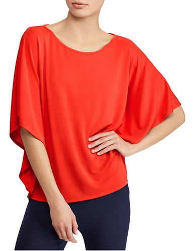 Lauren Ralph Lauren Jersey Dolman-Sleeve Top-TOMATO RED-X-Large
