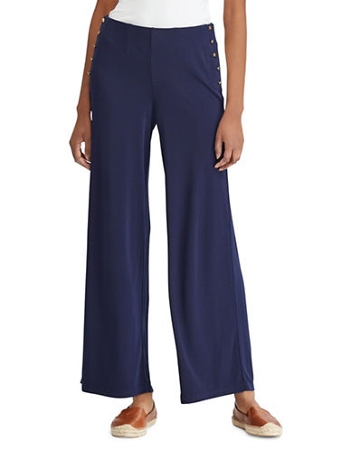 Lauren Ralph Lauren Button-Waist Wide-Leg Pant-NAVY-Medium 89866046_NAVY_Medium