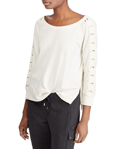 Lauren Ralph Lauren Lace-Up French Terry Top-MASCARPONE-Medium