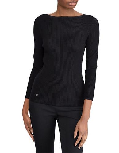 Lauren Ralph Lauren Petite Petite Boat Neck Sweater-BLACK-Petite Medium