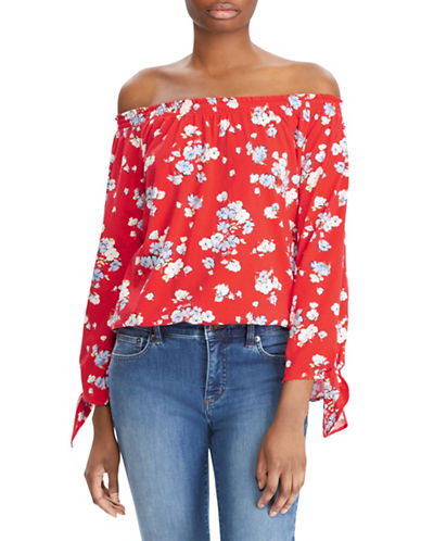 Lauren Ralph Lauren Petite Floral Jersey Off-the-Shoulder Top-RED-Petite Medium
